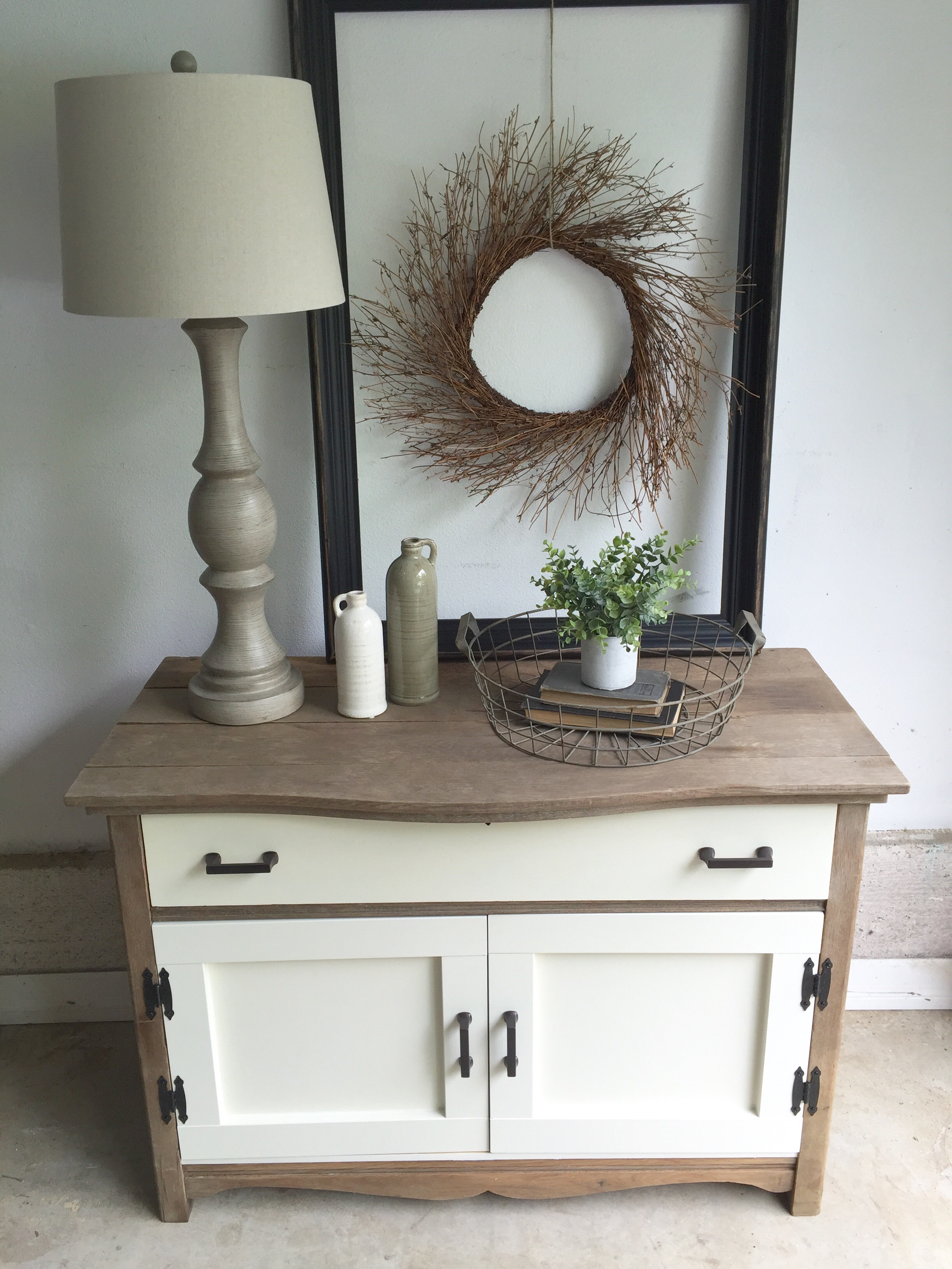 white and wood vintage dresser