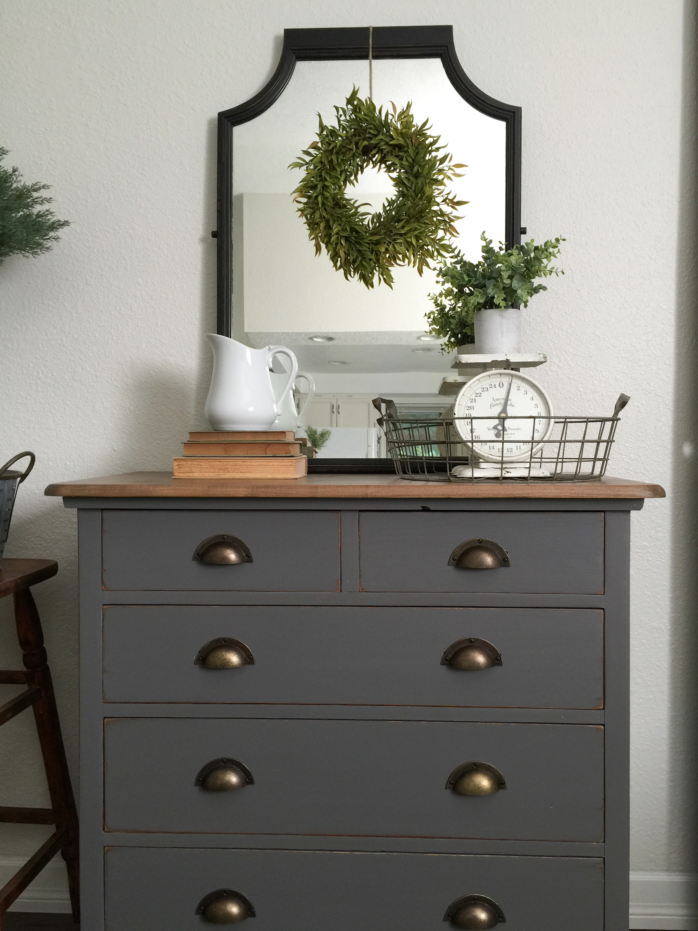 Charcoal Gray Dresser With A Sweet Little Note Farm